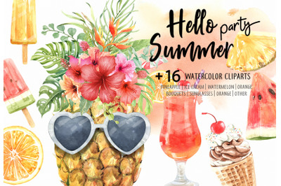 Watercolor Hello Summer Party with tropical flower
