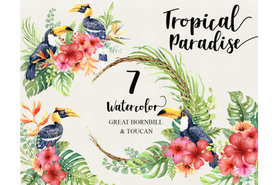 Watercolor tropical birds Great Hornbill and Toucan