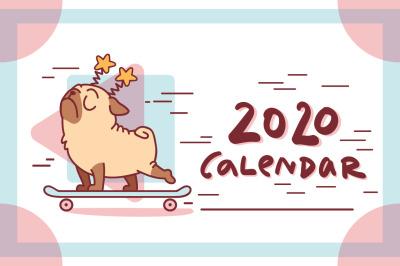 Pug Dog Calendar 2020 Templates