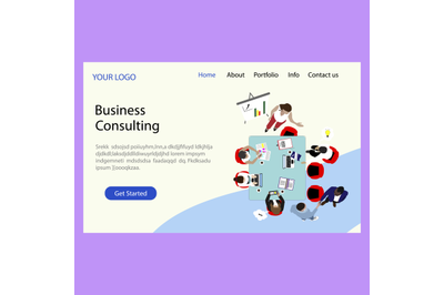 Business consulting company, landing page. Consulting in business and