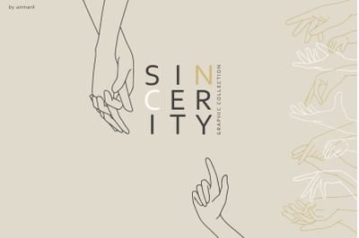 Sincerity. Line Art Hands
