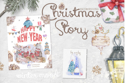 Christmas Story Watercolor cute Rats