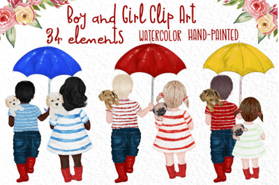 Watercolor kids, Boy and girl clipart,Cute kids clipart