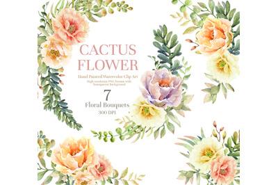 Succulent Bloom Watercolor Cliparts. Watercolor flower cactus.