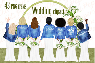 Bride and Bridesmaids clipart,Wedding clipart, Custom Bride