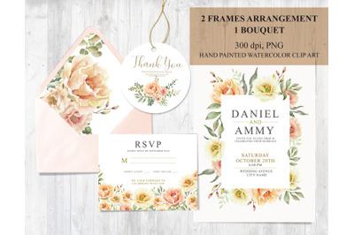 Watercolor flower wedding set