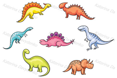 Set of cartoon colorful dinosaurs