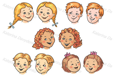 Set of 5 cartoon kids faces, front view and half-turned