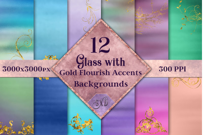 Glass with Gold Flourish Accents Backgrounds