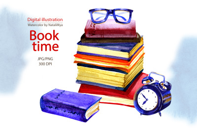 Book time - watercolor clipart