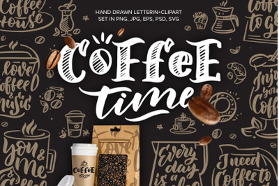 Coffee lettering + clipart, vintage