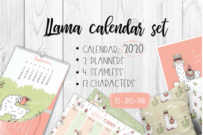 Calendar 2020 with cute llamas