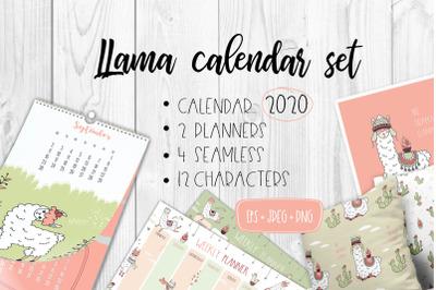Calendar 2020 with cute llamas