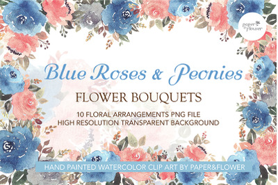 Blue Floral Watercolor Bouquets