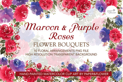 Maroon Floral Watercolor Bouquets