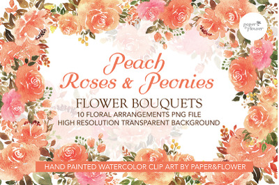 Peach Floral Watercolor Bouquet