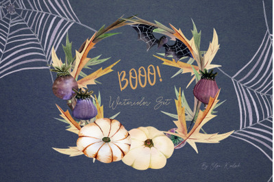 Watercolor Halloween Spider Set