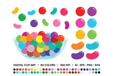 Gumballs & Jelly Beans Candy Bowl Clip Art