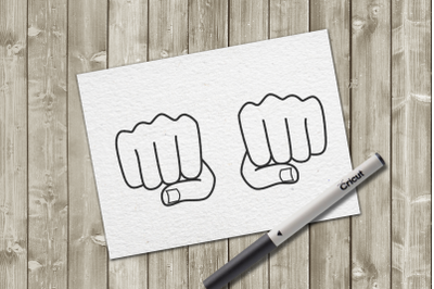 Fists Single Line Sketch for Pens | SVG | PNG | DXF
