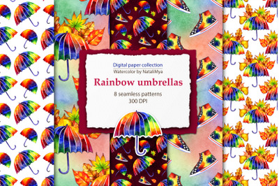 Watercolor rainbow umbrellas paper