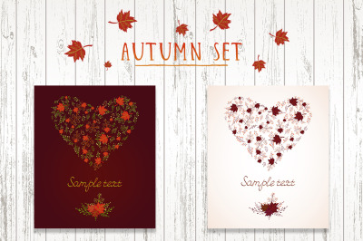 Vector set of heart shape from autumn leaves.