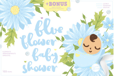 Blue Flower Baby Shower  Cute Drawings PLUS Invitation Templates