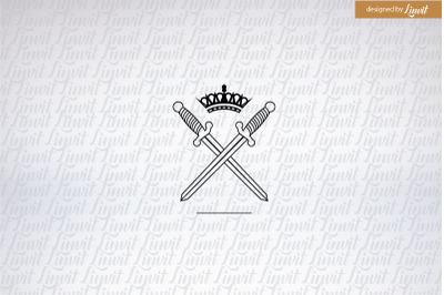 Sword Logo, swords, Minimalistic wedding logo