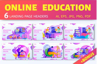 Education online. Landing headers