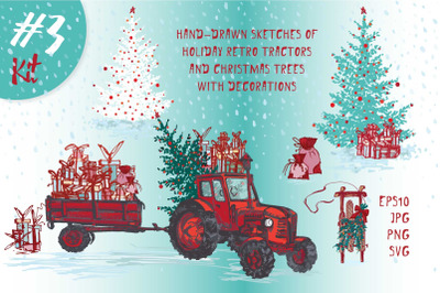 Set of Hand drawn Christmas tractors