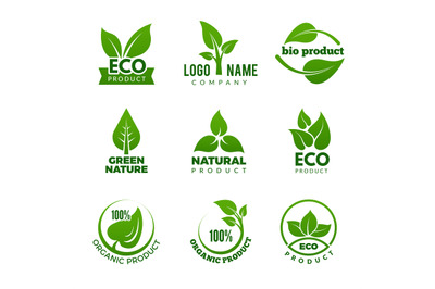 Nature logo. Herbal organic eco natural health design with vector leaf