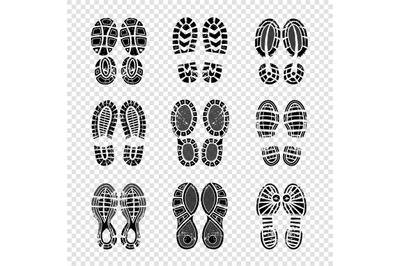 Footprint human. Walking boots soles steps silhouettes vector template