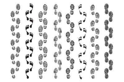 Footprints shapes. Movement direction of human shoes boots walking foo
