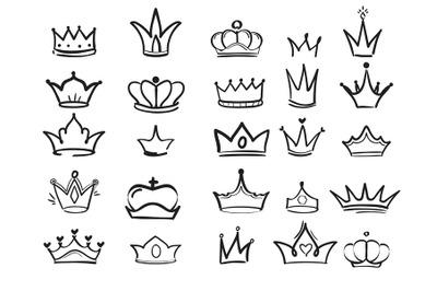 Doodling crown. Ink hand drawn symbols of king elegant imperial monarc