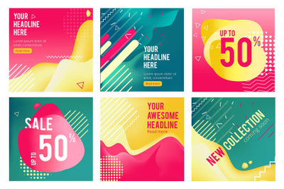 Offers banners. Prommotion square images for big sales social media of
