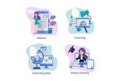 Internet education. Web classroom for distance tutorials online course