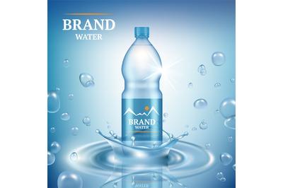 Aqua advertizing. Natural mineral liquid water drops commercial poster