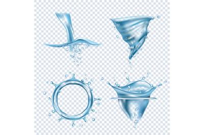 Water splashes. Rain drops liquid fluids object transparent blobs dyna
