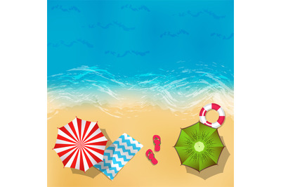 Vector summer beach landscape with sand, water, umbrellas and blankets