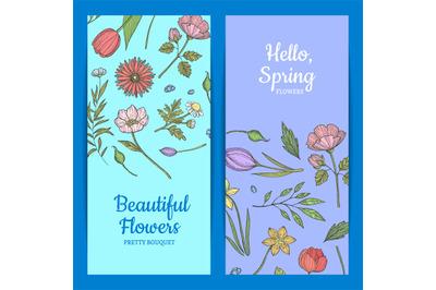 Vector hand drawn flowers web banner templates illustration