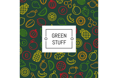 Vector line fruits icons background with place for text illustration