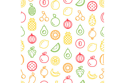 Vector line fruits icons pattern or background illustration