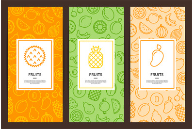 Vector line fruits icons flyer templates illustration
