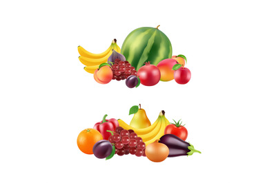 Vector realistic fruits and berries piles set isolated on white backgr