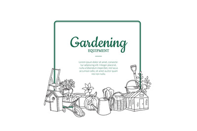 Vector gardening doodle icons below frame with place for text illustra