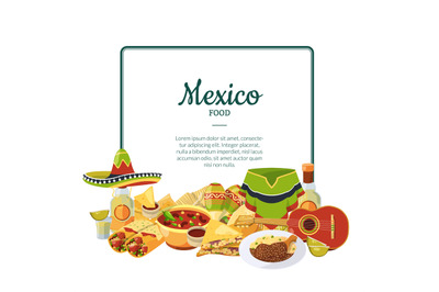 Vector cartoon mexican food below frame with place for text illustrati