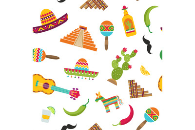 Vector flat Mexico attributes pattern or background illustration