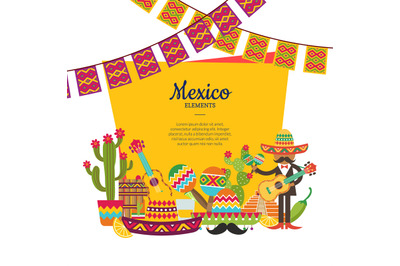 Vector flat Mexico attributes below frame with place for text and garl