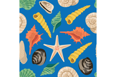 Vector cartoon sea shells pattern or background illustration