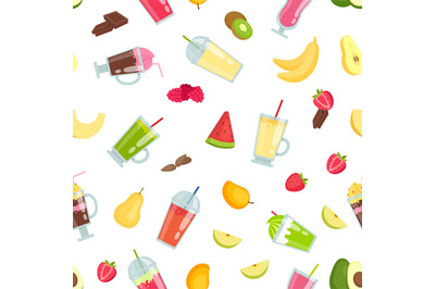 Vector flat smoothie elements pattern or background illustration