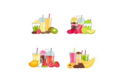 Vector flat smoothie elements piles set isolated on white background i